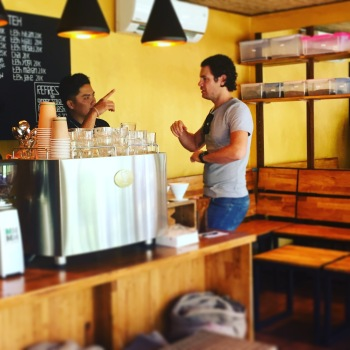 The husband ordering a coffee at Ubud Coffee Roastery